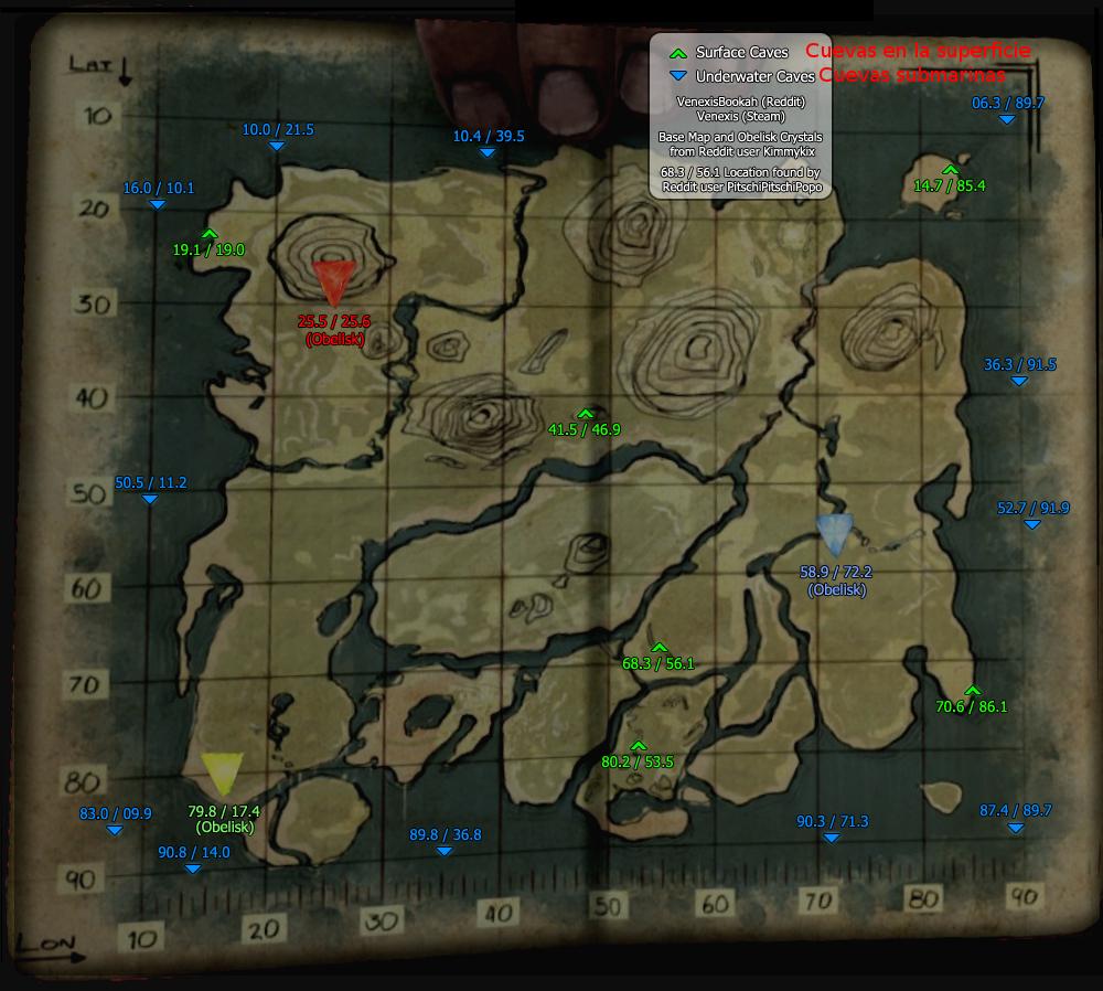 Mapa con localización de cuevas en ARK: Survival Evolved ...